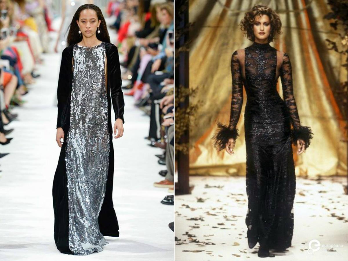 Linee di un abito da sera: SS 2018 (sinistra) e FW 1994/95 (destra)