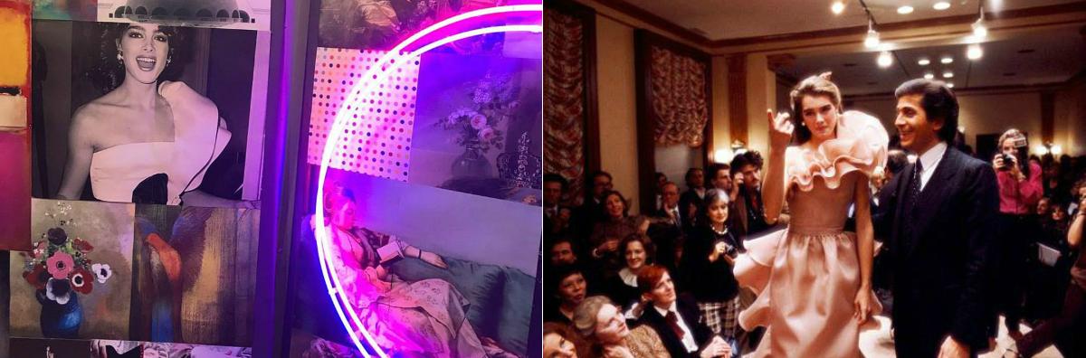 Mood-board Valentino SS 2018 - credits: Michel Gaubert Instagram / Brooke Shields e Valentino nel finale della presentazione della Collezione Alta Moda Primavera/Estate 1981 presso l'atelier di Via Gregoriana a Roma