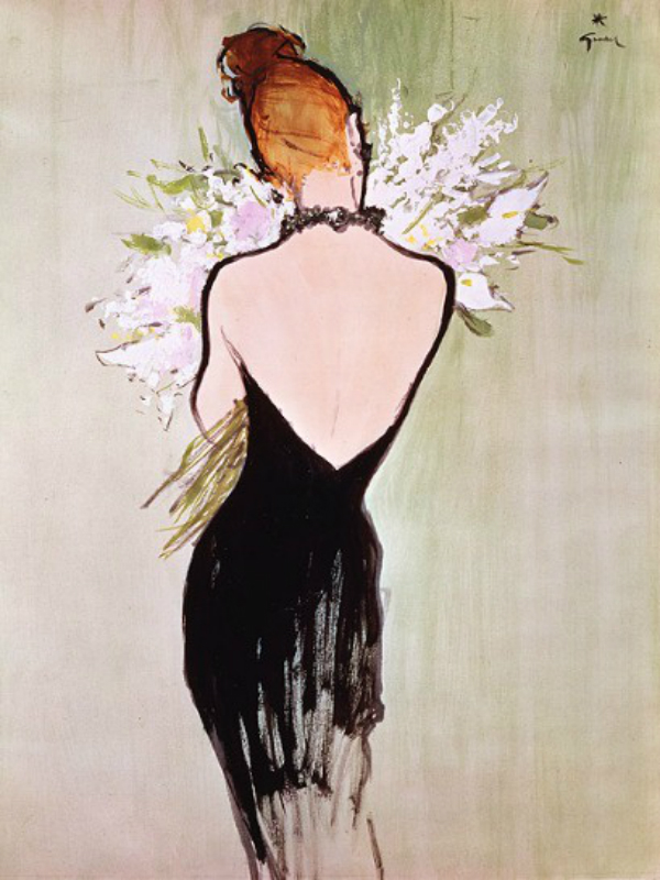 Illustrazione di René Gruau per la linea di profumi.